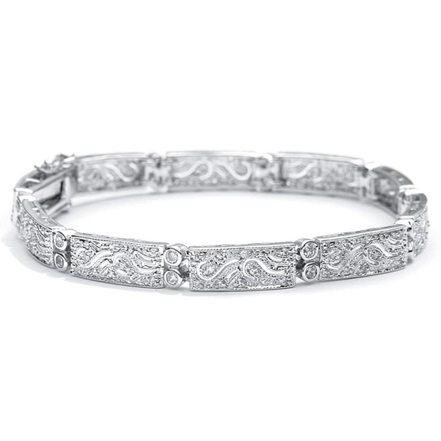 Mariell Finely Etched Faux Diamond and Platinum Cubic Zirconia Bracelet