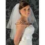 Illusions Bridal Corded Edge Veil S1-252-C: Ivory, Rhinestone Accent