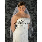 Illusions Bridal Corded Edge Veil 5-361-C: Rhinestone Accent