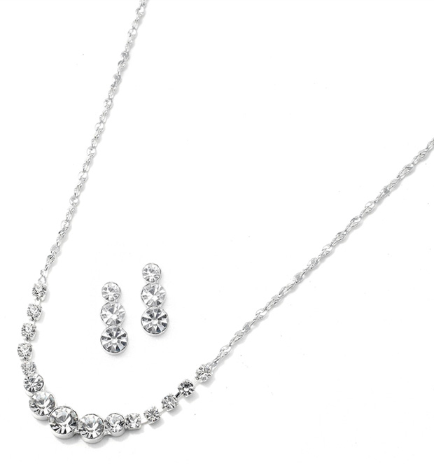 Mariell Dainty Crystal Rhinestone Bridesmaid Or Prom Necklace Set
