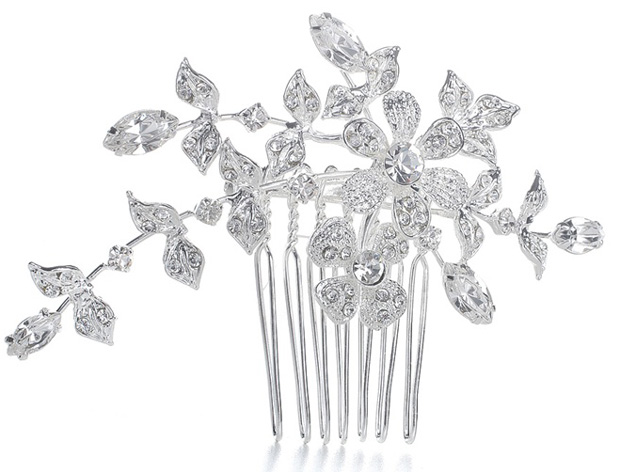 Mariell Wedding Or Bridal Comb/Brooch with Crystal Garden