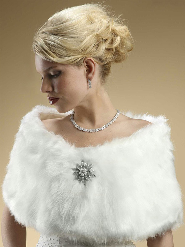 Mariell Faux Fur Bridal Wrap with Pure White Fox