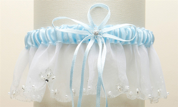Mariell Organza Bridal Garters with Pearls and Chain Edging: White, Blue