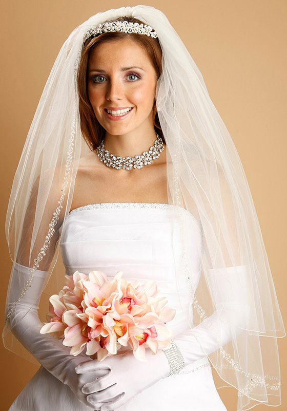 Mariell BridalVeil with Pearls,Swarovski-Crystals,Seeds&Threaded Chain