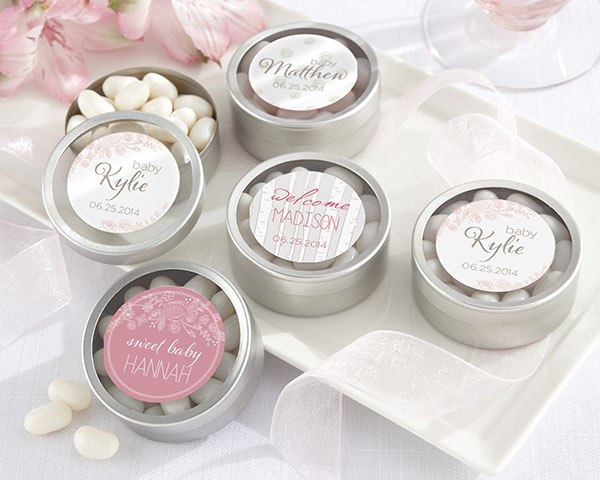 Personalized Round Candy Tin, Kate's Rustic Baby Collection: Set of 12