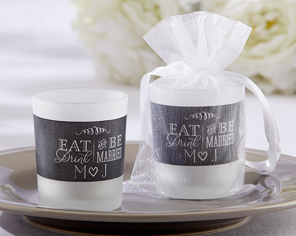 Personalized Frosted Glass Votive: Eat, Drink & Be Married