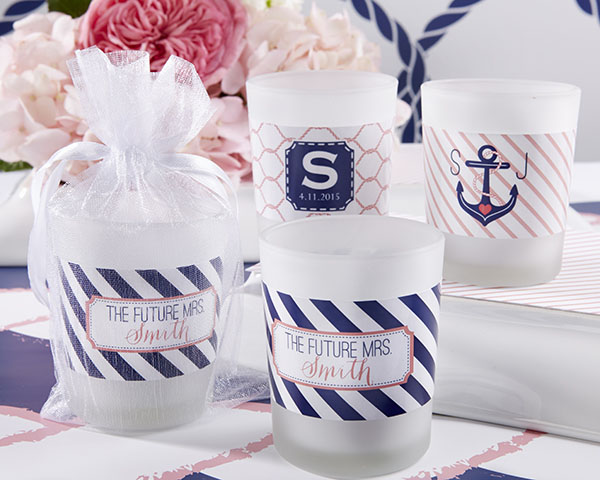 Personalized Frosted Glass Votive, Kate's Nautical Bridal Shower Collection
