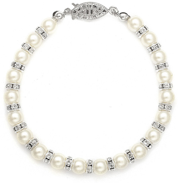 Mariell Alternating Pearl and Rondelle Wedding Bracelet