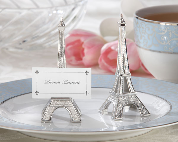 Evening in Paris, Eiffel Tower Silver-Finish Place Card, Holder: Set of 4
