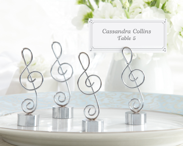 Love Songs, Silver-Finish Music Note Place Card, Photo Holder: Set of 4