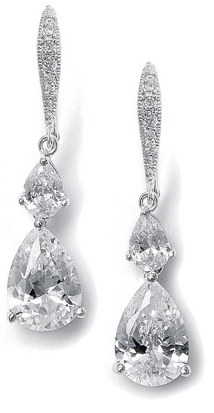 Mariell Vintage Teardrop Bridal Or Bridesmaid CZ Earrings