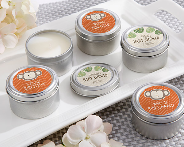 Personalized Travel Candle, Kate's Born To Be Wild Baby Shower Collection