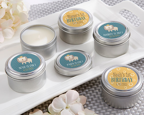 Personalized Travel Candle, Kate's King of The Jungle Birthday Collection