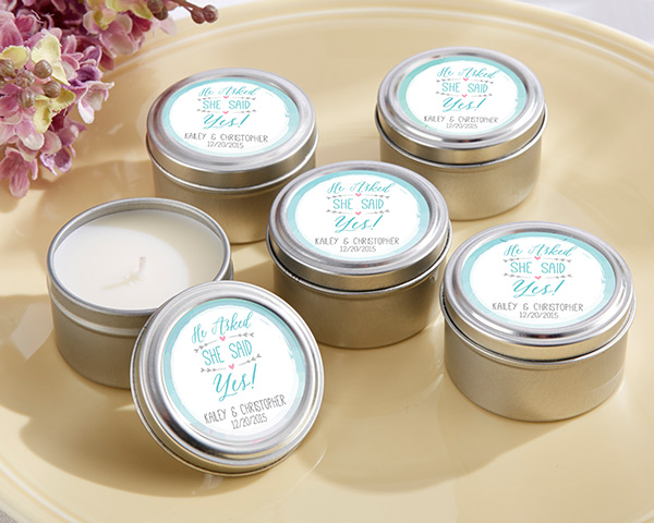 Personalized Travel Candle: He Asked, She Said Yes
