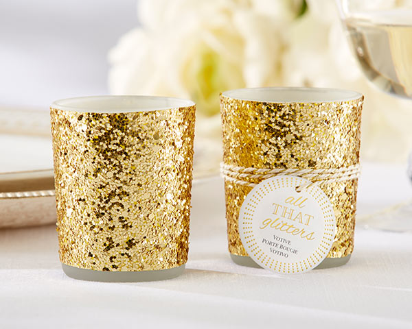 All That Glitters, Gold Glitter Votive/Tealight Holder: Set of 4