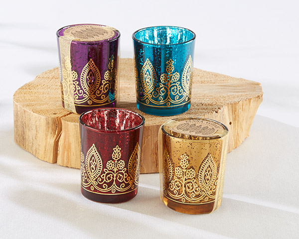 Indian Jewel Henna Votives: Assorted, Set of 4