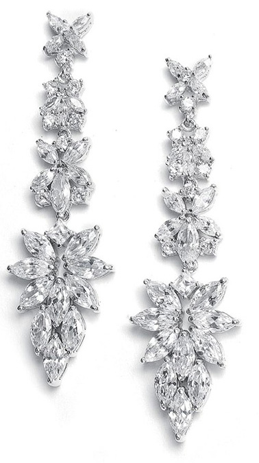 Mariell Bridal Earrings with Cubic Zirconia Marquis Cluster