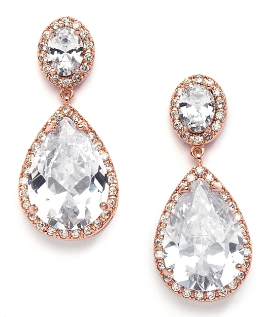 Best-Selling Cubic Zirconia Rose Gold Pear-Shaped Bridal Earrings with Clip Back