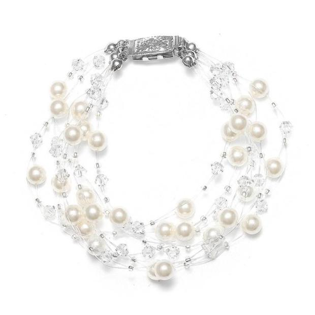Mariell Lavish 6-Row Pearl & Crystal Bridal Illusion Bracelet