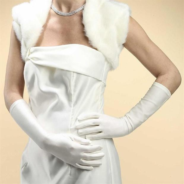 Mariell Below Elbow Wedding or Prom Gloves in Matte Satin