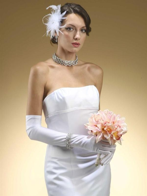 Mariell Above Elbow Bridal or Prom Gloves in Matte Satin