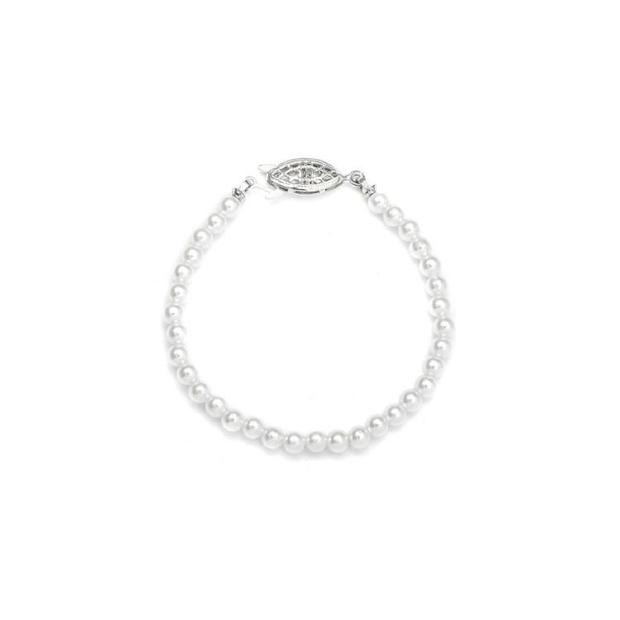 Mariell Single Strand 4mm Pearl Wedding Bracelet