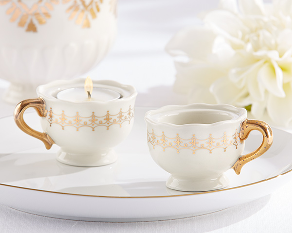 Classic Gold Teacups Tealight Holder: Set of 4