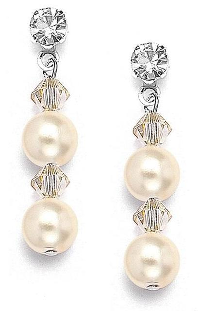 Mariell Pearl & Crystal Dangle Wedding Earrings: Honey, Pierced