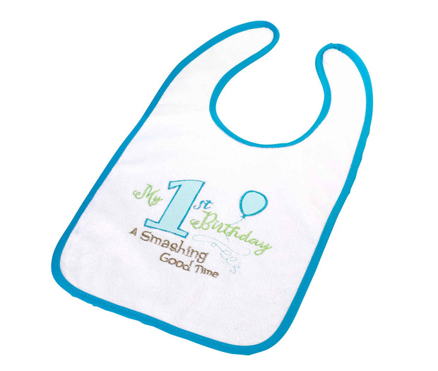 Lillian Rose First Birthday Bib: Blue