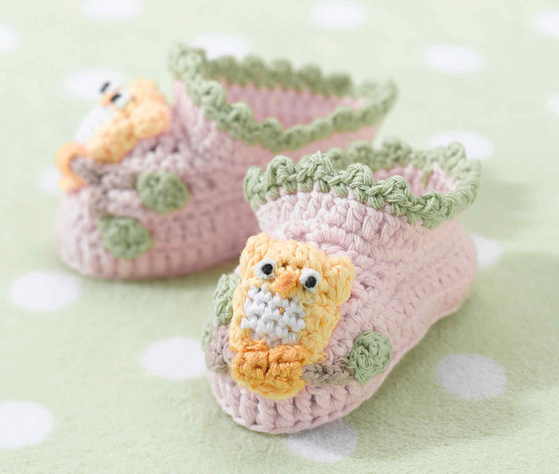 Lillian Rose Pink Owl Booties 0-6 Months