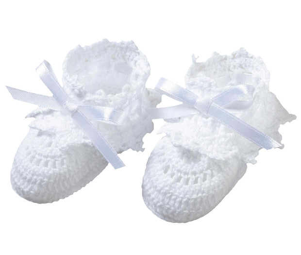 Lillian Rose White Crocheted Booties