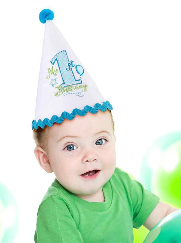 Lillian Rose First Birthday Cap: Blue