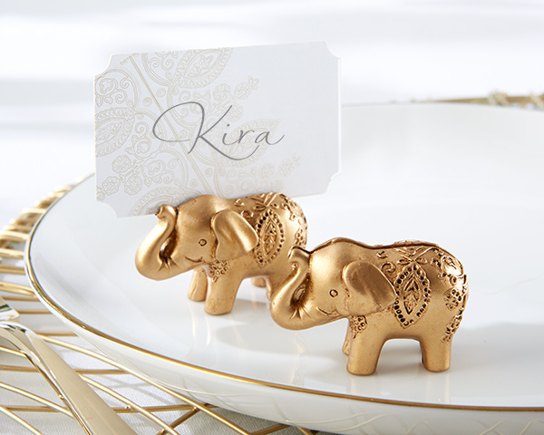 Lucky Golden Elephant Place Card Holders: Set of 6