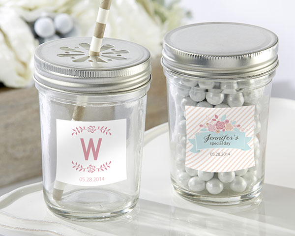 Personalized Glass Mason Jar, Kate's Rustic Bridal Shower Collection: Set of 12