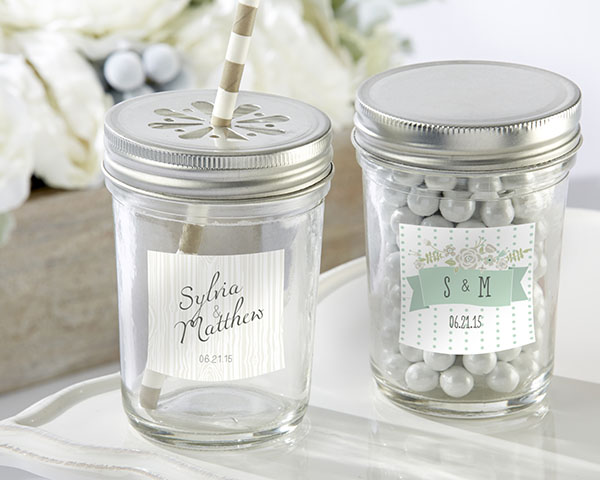 Personalized Glass Mason Jar, Kate's Rustic Wedding Collection: Set of 12