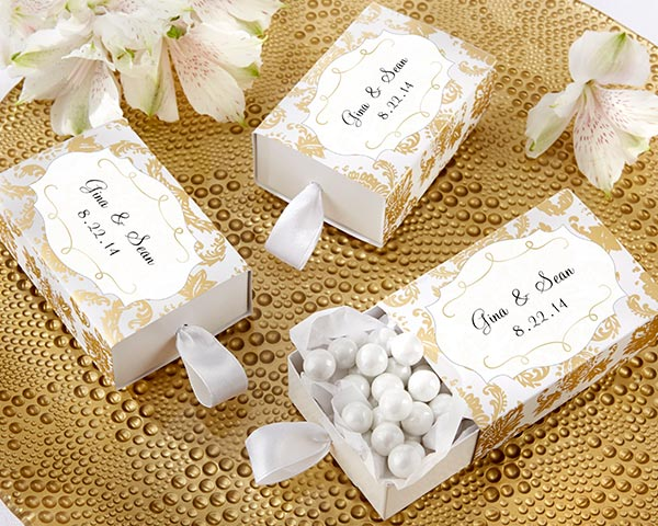 Treasures, Gold Damask Favor Box: Set of 24, Available Personalized