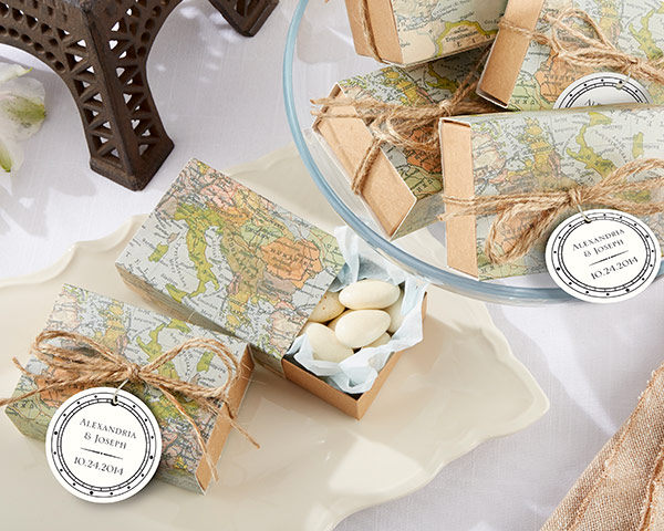 Around the World, Map Favor Box: Set of 24