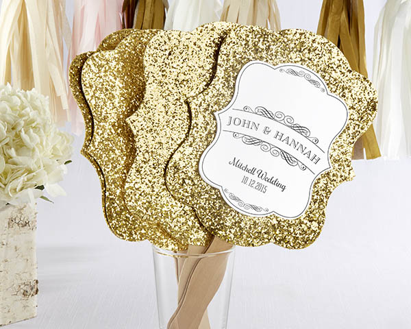 Gold Glitter Hand Fan: Set of 12