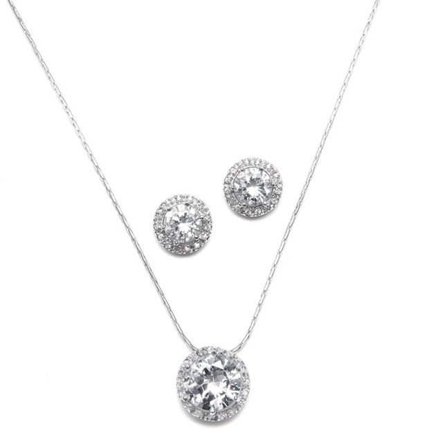 Mariell CZ Solitaire Wedding Necklace and Earring Set