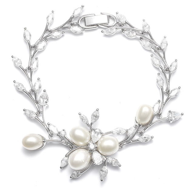 Mariell Freshwater Pearls in CZ Leaves Bracelet