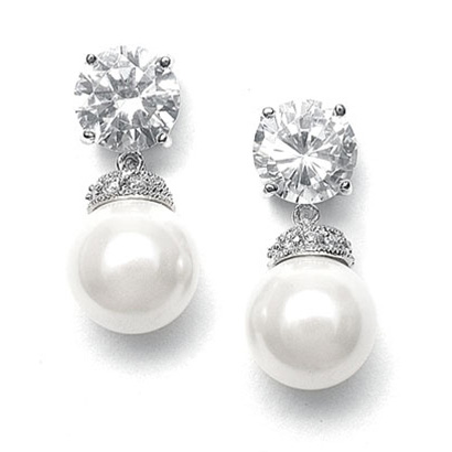 Mariell Round CZ Wedding Earrings with Bold Pearl