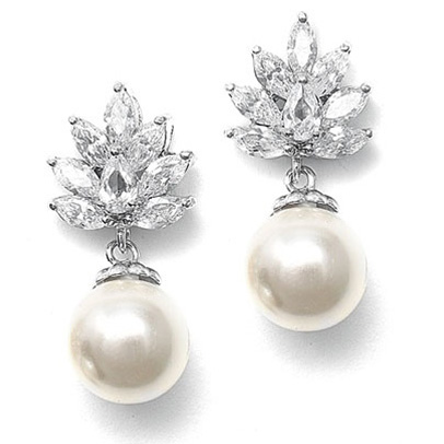 Mariell CZ Cluster Bridal Earrings with Pearl Drop