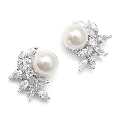 Mariell CZ Crescent Bridal Earrings with Pearl