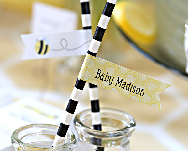 Kate's, Sweet as Can Bee, Personalized Party Straw Flags