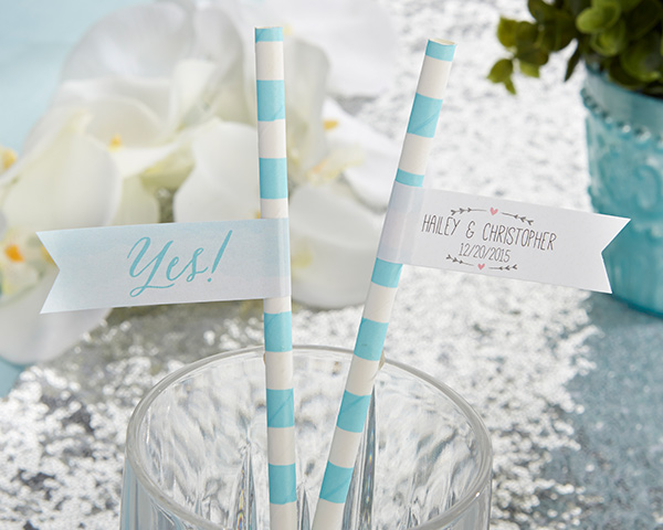 Personalized Party Straw Flags: He Asked, She Said Yes
