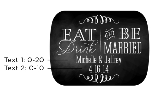 Personalized Silver Bottle Opener with Epoxy Dome: Eat, Drink & Be Married