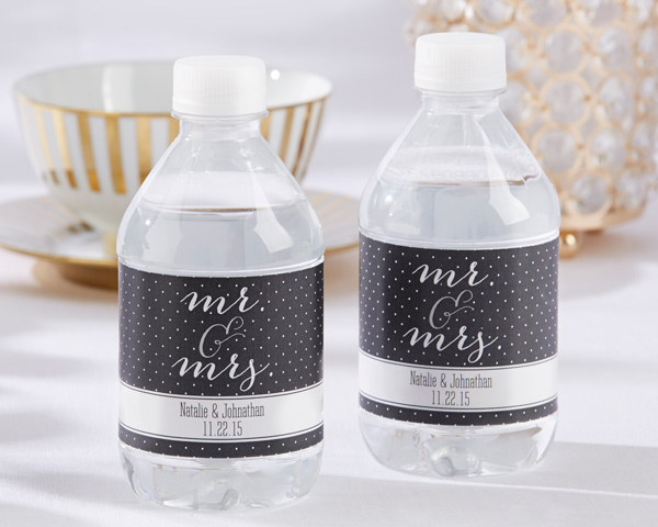 Personalized Water Bottle Labels: Mr. & Mrs.