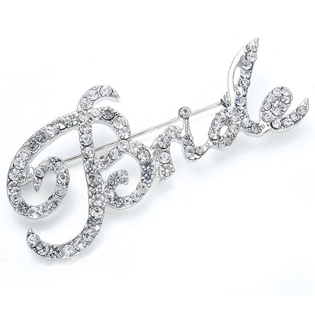 "Mariell Crystal ""Bride"" Pin"