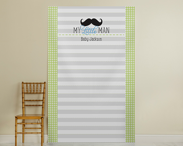 Kate's, Little Man, Personalized Photo Booth Backdrop-Mustache Design