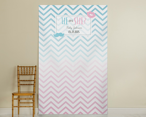 Kate's, He or She?, Gender Reveal Personalized Photo Booth Backdrop-Chevron Ombre